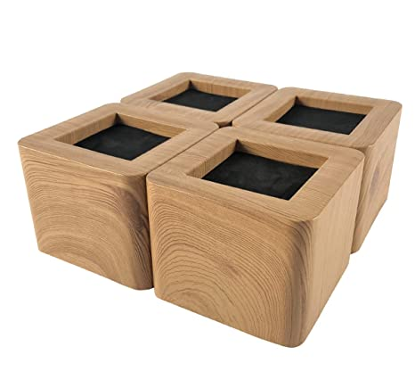 Miix Home Bed Risers 3 Inch Heavy Duty Wooden Color Furniture Riser 4pcs Brown Sofa Risers Or Table Risers