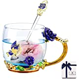 TILANY Enamel Tea Cup Coffee Mug Set With Spoon & Coaster - Beautiful Cappuccino Latte Cups - Clear Insulated Glass Mugs…