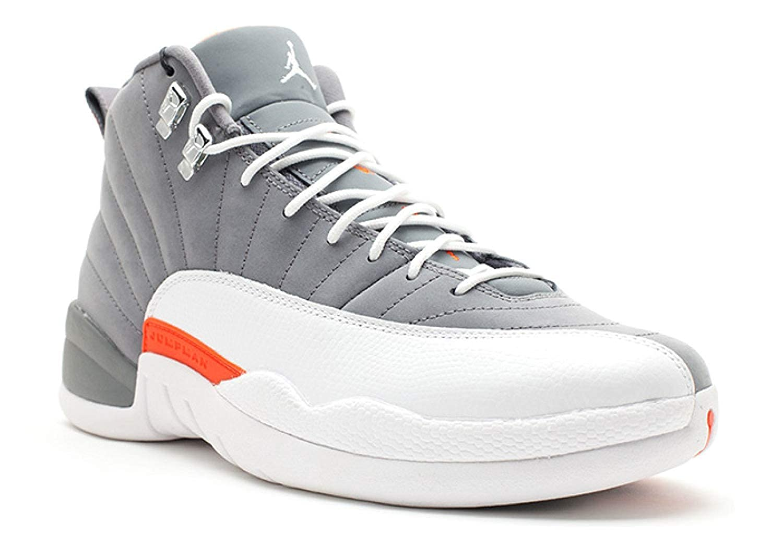 Air Jordan 12 Retro Cool Grey White-Team Orange