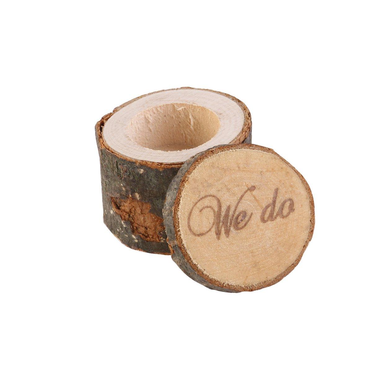 OULII Box anello, anello nuziale al portatore, rustico anello scatola, legno stampato facciamo