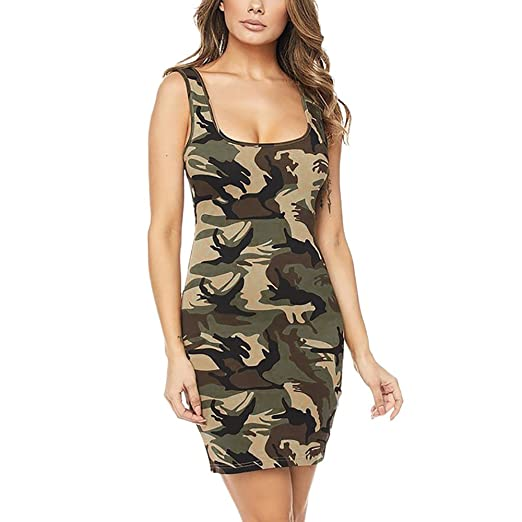 c9ab977a216 Summer Dress Bodycon Slim fit Mini Dress Girls Women s Strappy Army  Camouflage Print Cami Swing Dress at Amazon Women s Clothing store