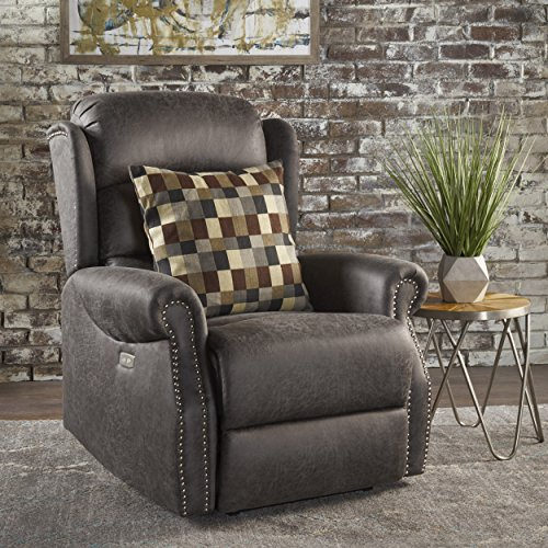 Desiree Tufted Navy Blue Fabric Power Recliner (Slate)