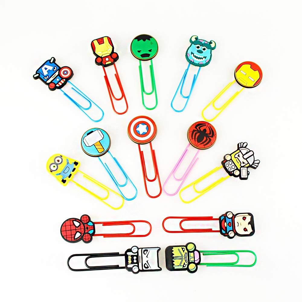 Airgoesin 14pcs Paper Clips Bookmark Superhero Cartoon Cute Page Markers Organizer Funny Cute School Office Supplies Gift (A Type)