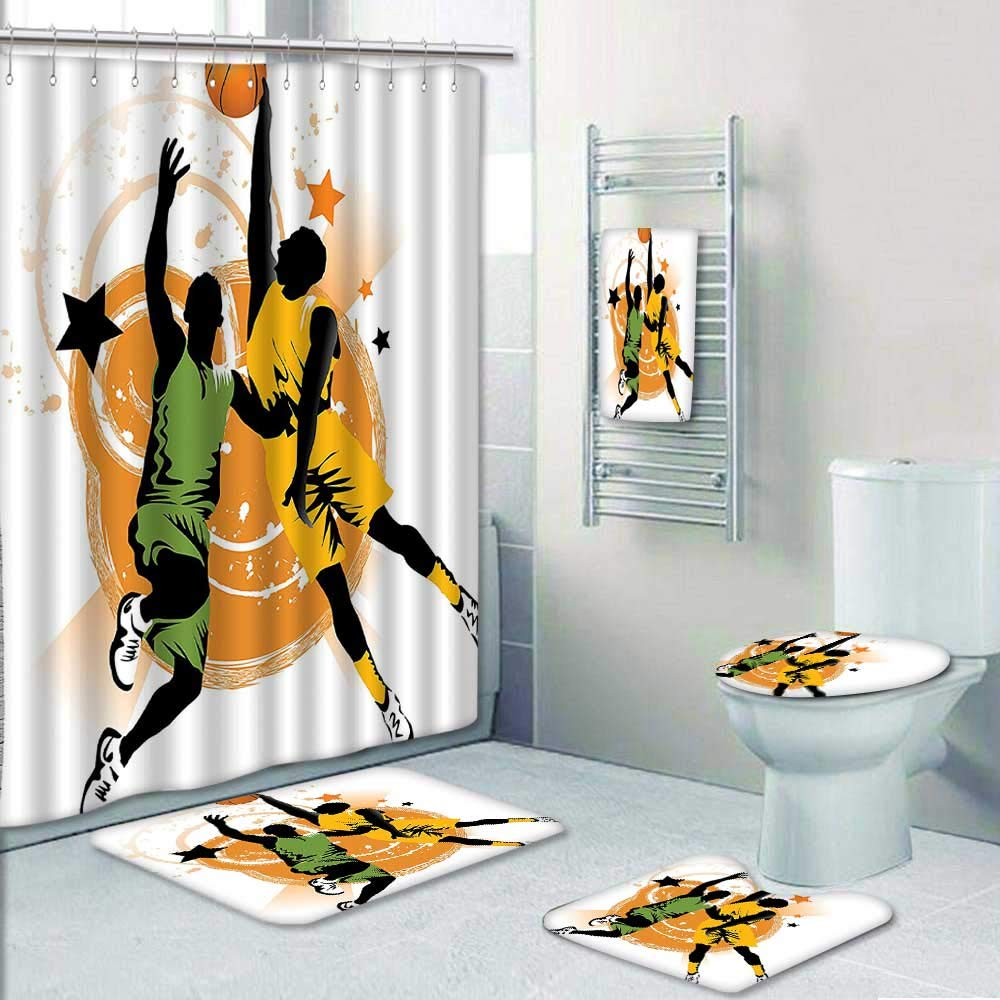 AmaPark 5-Piece Bathroom Set-Includes Shower Curtain Liner, Bathroom Rugs and Bath Towel,Image of Two Basketball Players in A Heated Game Rings Stars in The Decorate The Bath