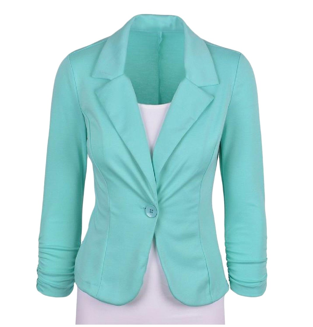 Tootlessly-Women OL Office Solid Colored Folding Sleeve Short Blazer