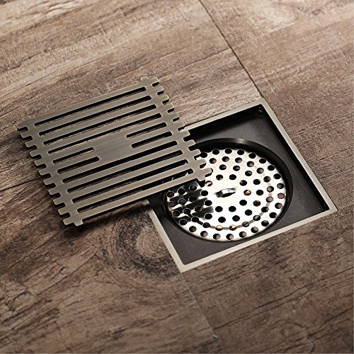 Shower Floor Drain Square Tile Insert 4-Inch Pure Cupper Brushed Grate Strainer With Removable Cover Anti-Clogging, High-Grade Bronze Floor Drain by YJZ (Image #2)