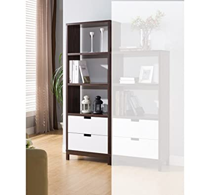 Amazon Benzara BM148824 Large Two Toned Stylish Display Cabinet Brown White Kitchen Dining