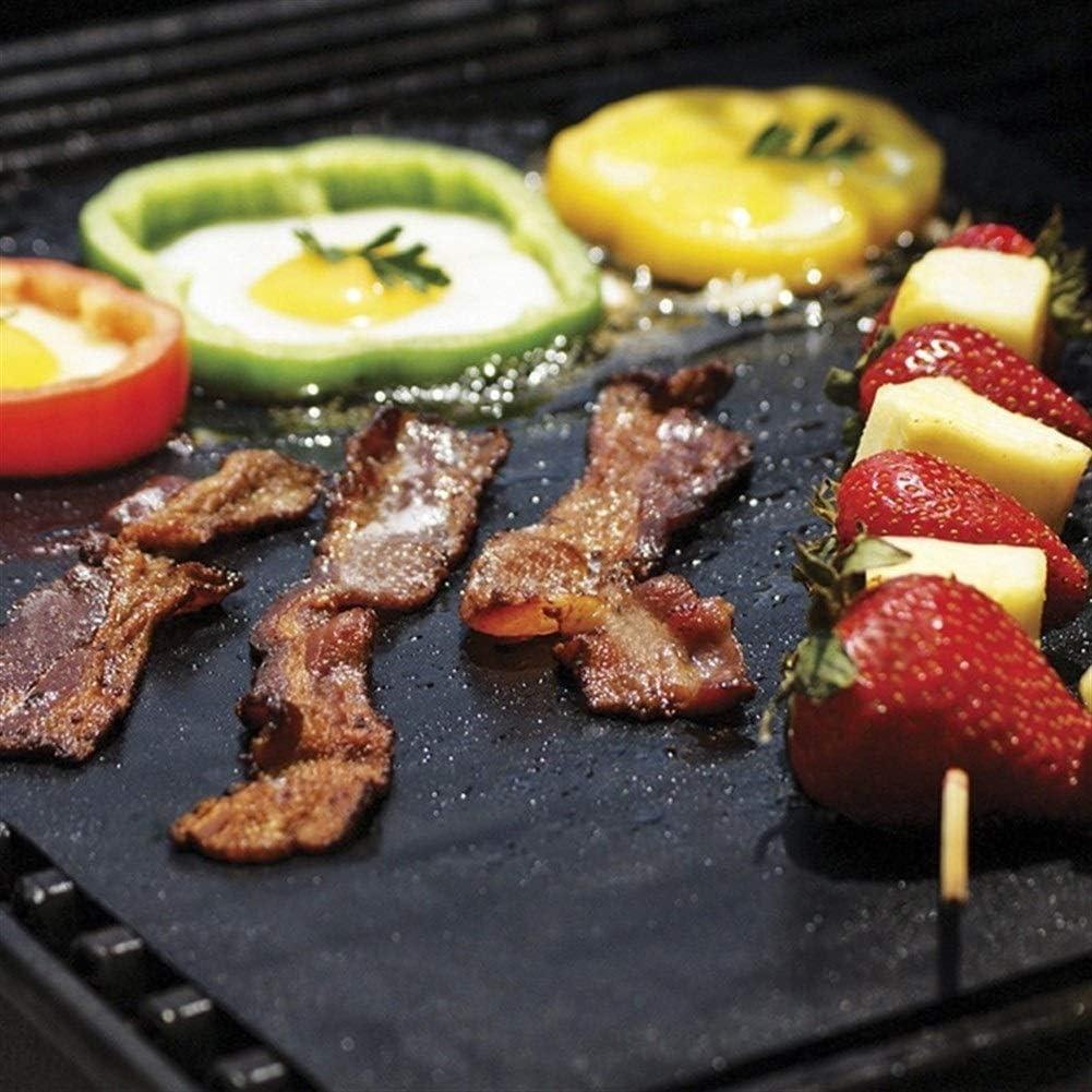Tapis de barbecue réutilisable Fibre de téflon antiadhésif Tapis de gril de barbecue Plaque chauffante Portable Easy Clean Foil BBQ Accessoires (Color : Black2pcs) Black2pcs