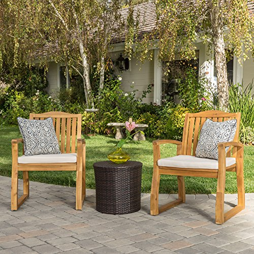 Tampa Outdoors Acacia Wood 3 Piece Chat Set with Round Wicker Table (Wicker Furniture Tampa)