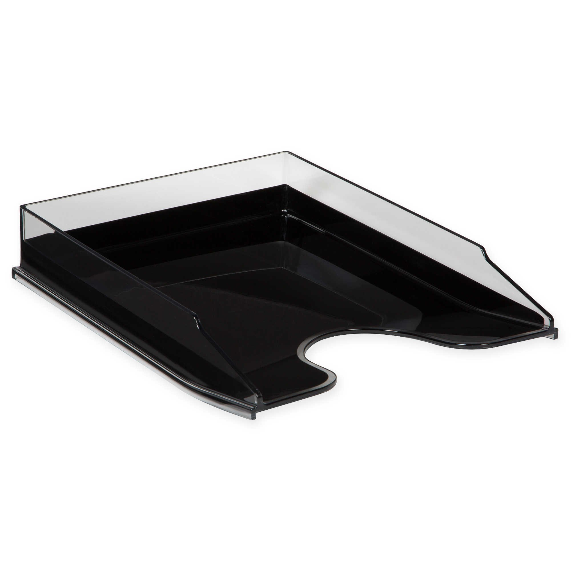 HomeCrate Modern Desk Organizer Stackable Letter Tray - Clear/Black