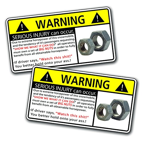 Funny Snowmobile Nuts Warning Decal Sticker Snow Sled