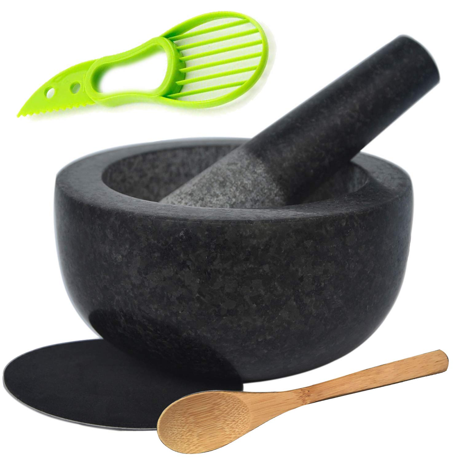 Large Granite Mortar and Pestle Set 6.3 inch, Cozymat Molcajete, Salsa Pestos Guacamole Bowl, Herbs and Spices Grinder, with EVA Anti-scratch Pad& Spoon, Black by cozymat