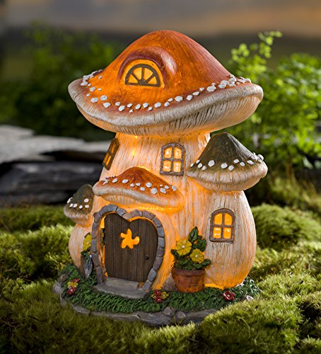 Wind & Weather GO7556 Lighted Resin Mushroom Fairy House (Solar Door Fairy)