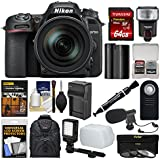 Nikon D7500 Wi-Fi 4K Digital SLR Camera & 16-80mm VR DX Lens 64GB Card + Backpack + Flash + Mic + Video Light + Battery & Charger Kit