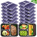 16-Pack VANCOOL Meal Prep Containers 3 Compartment Lunch Boxes