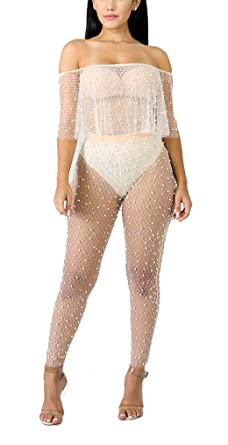 708492e31eac Felicity Young Women Sexy See Through Mesh Beaded Beach Swimsuit Bikini  Cover up Bodycon Party Clubwear