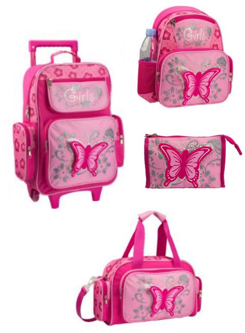 Butterfly - Kinder-Trolley-Set - 4-teilig - Trolley, Rucksack, Reisetasche, Kulturtasche