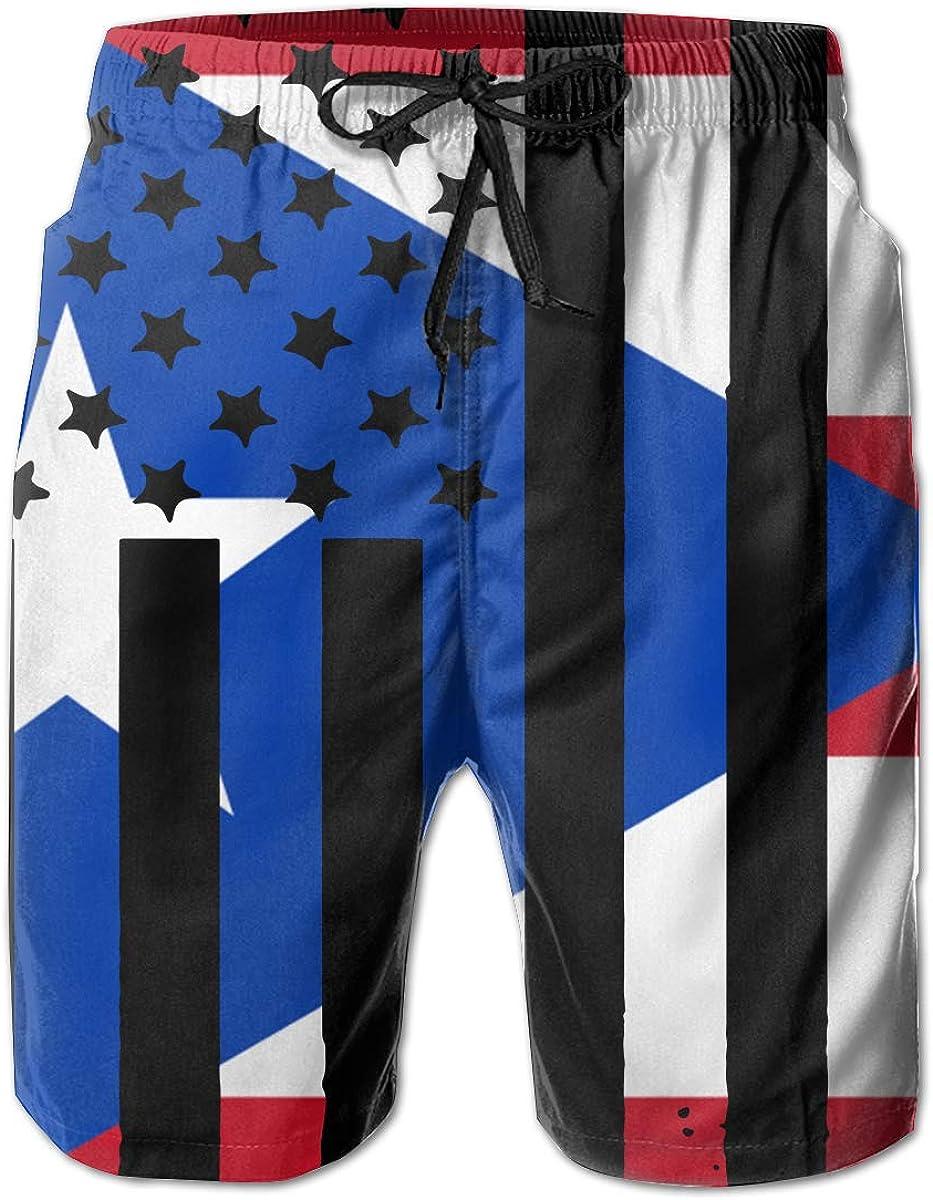 Mens Puerto Rico American Flag Boardshorts Beach Pants