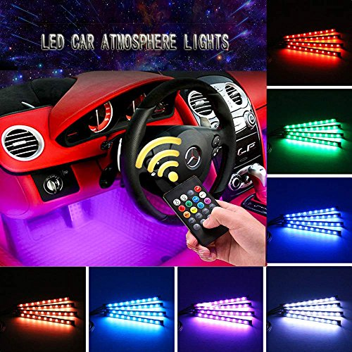 PACASK 9 LED Control Car Auto Floor Lights Glow Neon Light Strips Decoration Lamp with Sounds-activated /& Wireless IR Remote Control Car Charger Included