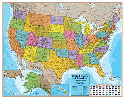 Hemispheres Blue Ocean Usa Wall Map  Laminated Educational Poster Laminated Poster 48 X 38In