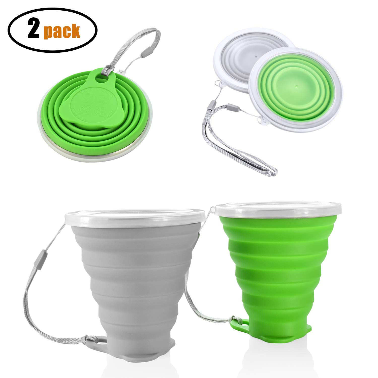 Seafirst Silicone Collapsible Cup BAP Free Portable Folding Cup with Lid Travel Camping Hiking 2 pcs Set