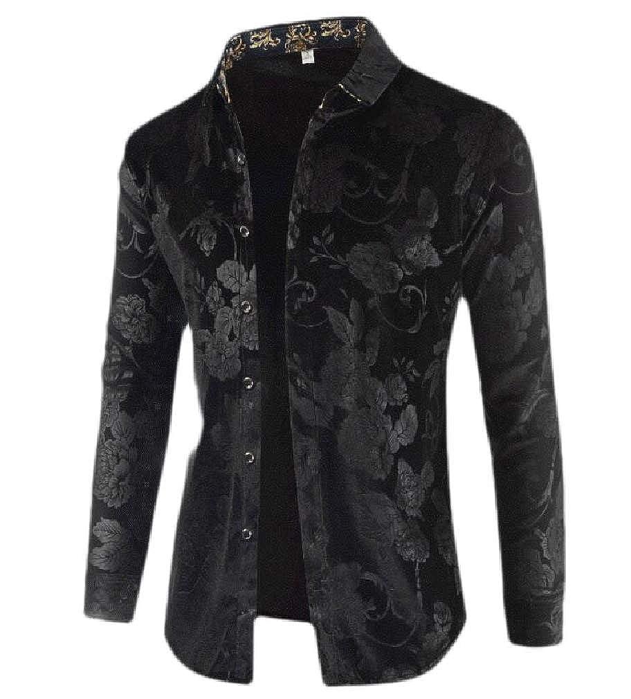 pipigo Mens Button Up Lapel Casual Slim Fit Long Sleeve Velvet Shirts