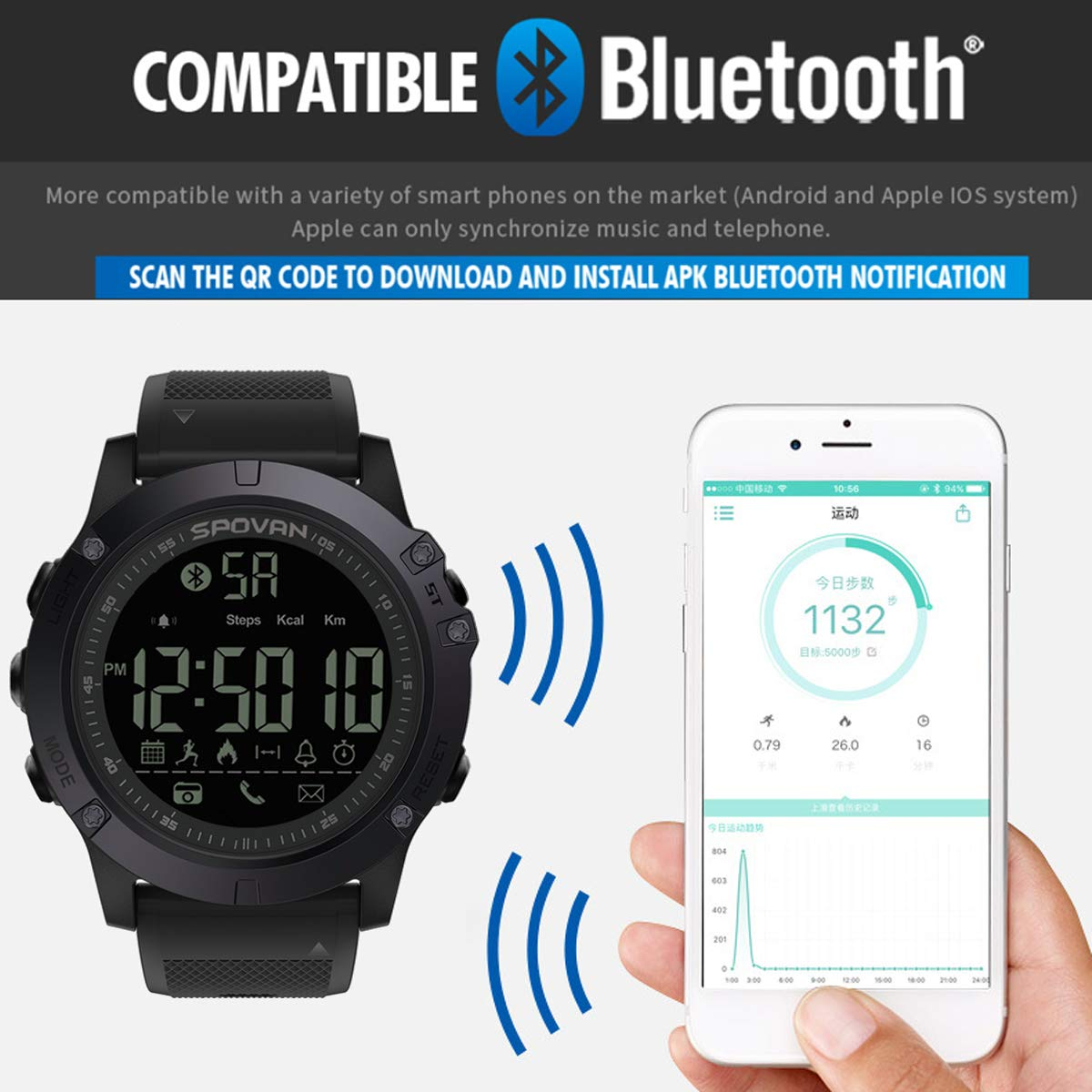 Amazon.com: Mens Sports Watch Bluetooth Activity Tracker Waterproof Digital Military Pedometer Calorie Counter Multifunction Wrist Smart Watch: Watches