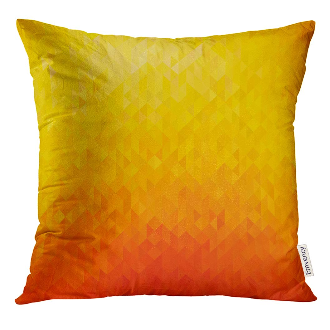 Vanmi Throw Pillow Cover Yellow Modern Abstract Orange Color Geometric Triangle Shapes Colorful Bright Clean Decorative Pillow Case Home Decor Square