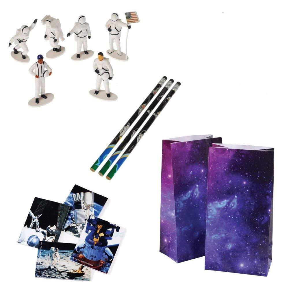 Kid Fun Astronaut Space Toy Party Favor Supplies 48 Piece Set for 12 Bundle Pencils Notepads Figures Bags
