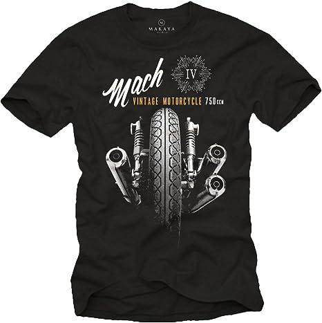 MAKAYA Camisetas Moteras - Vintage Moto Mach 4 Hombre: Amazon.es: Ropa y accesorios