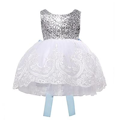 Transer Princess Baby Kids Girl Bowknot Lace Floral Dress Christmas