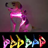 LED Dog Harness,Paperflower Flashing Strong Waterproof Nylon Webbing Visible Led Light Harness Used for Safe Walking Hiking and Jogging (Pink)