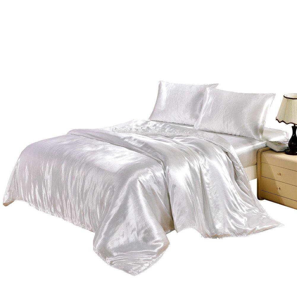 dushowシルクLikeサテンソリッドカラー布団カバーセット寝具/隠しファスナー付きTiesソフトリバーシブル低刺激性耐汚れキルト/ベッドカバー3個セット クイーン ホワイト B075WY1MD5 クイーン|ホワイト ホワイト クイーン