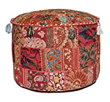 khushvin Bohemian Indian Patchwork Ottoman Red Vintage Sari Patchwork Ottoman Traditional Handmade Pouf Indian Patchwork Foot stool Ottoman 18x14