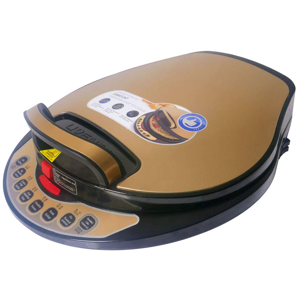 Liven LR-A434 Electric Skillet, One Button to Detach and Wash, Golden Shell BEIJING LIREN