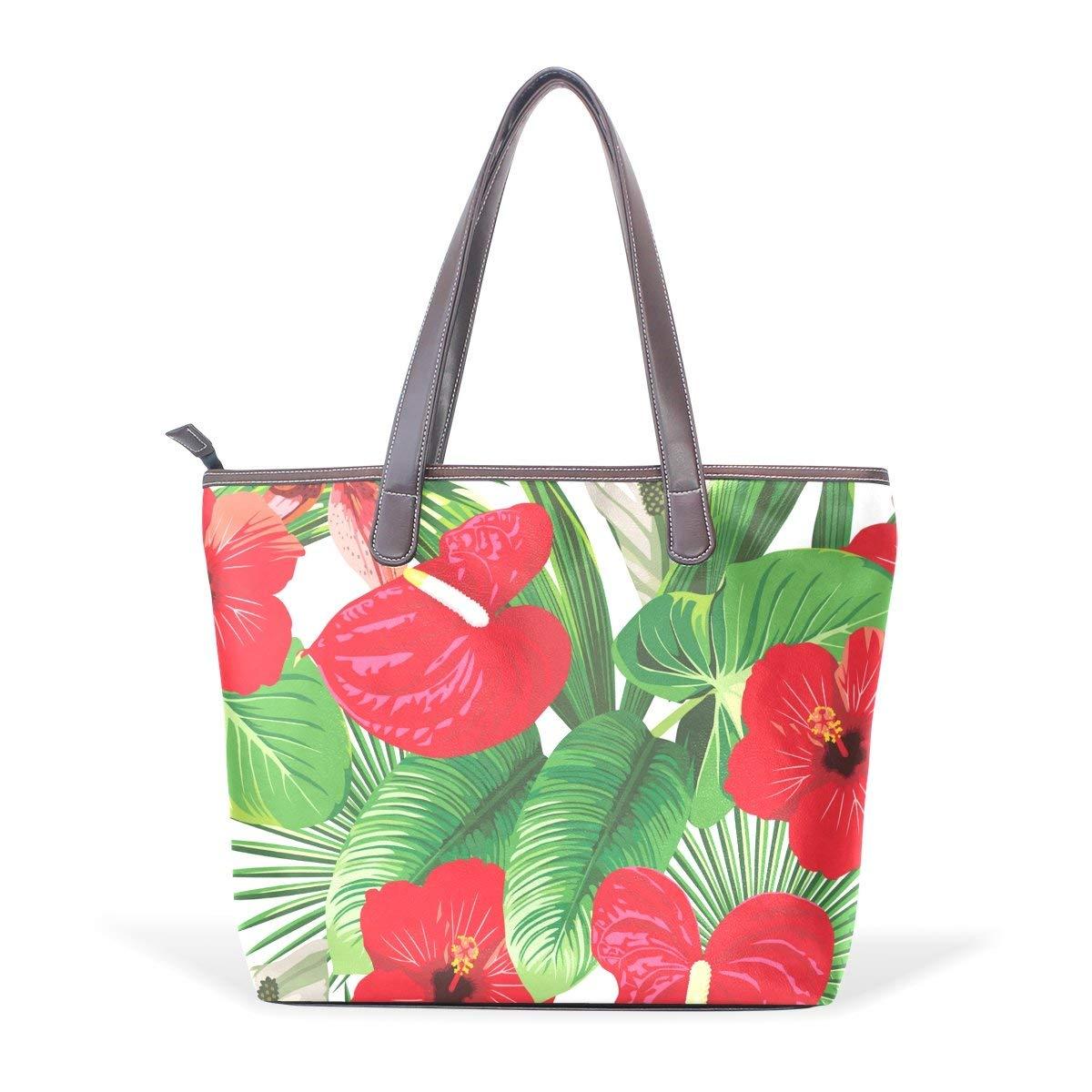 Tropical Floral Print Womens Fashion Large Tote Ladies Handbag Shoulder Bag