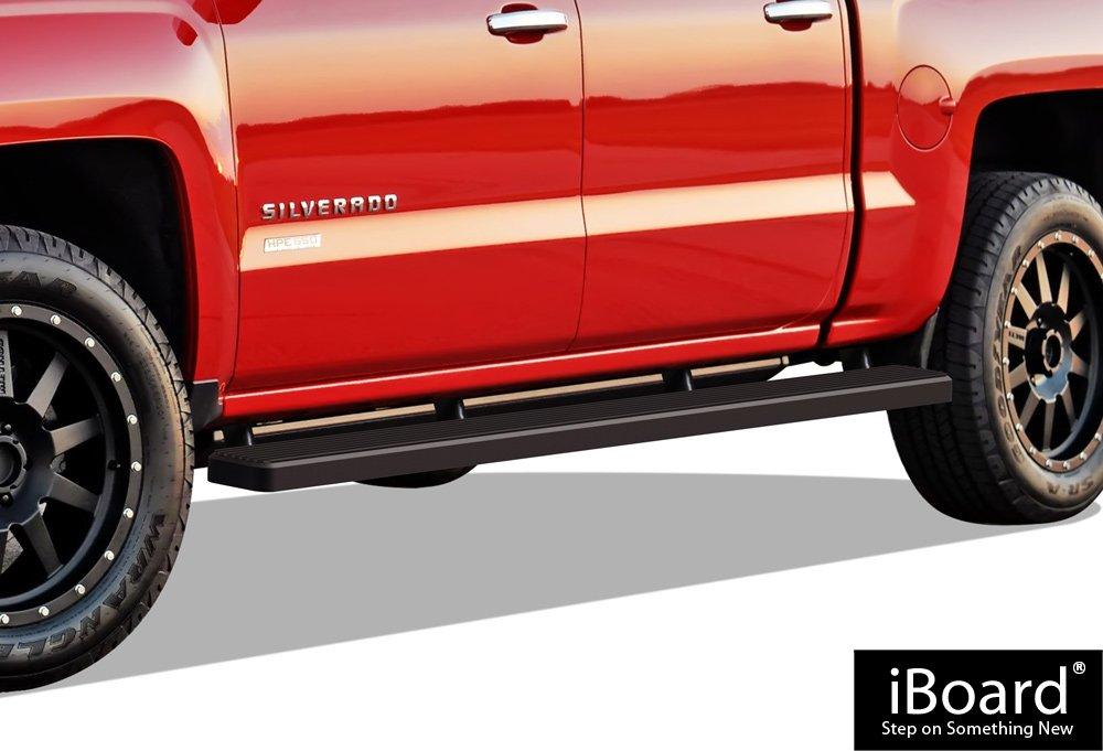 APS iBoard Running Boards (Nerf Bars) for 2007-2018 Chevy Silverado/GMC Sierra Crew Cab 6.5ft Bed & 2019 2500 HD / 3500 HD (Excl. 07 Classic Models) | (Black Powder Coated 5 inches Wheet to Wheel)