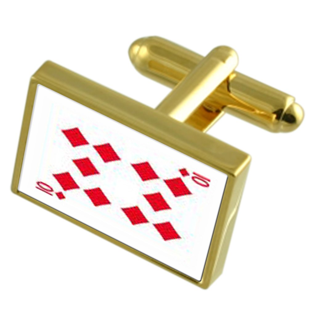 Select Gifts Diamond Playing Card Number 10 Gold-Tone Cufflinks Black Pouch