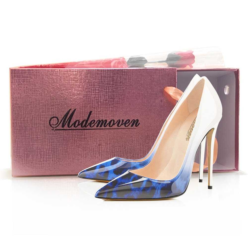 Modemoven Women's Pointy Toe High Heels Slip On Stilettos Large Size Wedding Party Evening Pumps Shoes B0728B1VXC 13 B(M) US|Blue Leopard