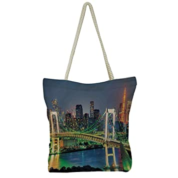 iPrint Handbag Cotton and Linen Shoulder Bag Modern Stylish,Landscape,Traditional  Chinese Fisherman with 86fffb264c