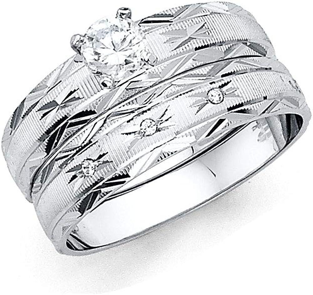 Wellingsale Mens 14K White Gold Polished Diamond Cut CZ Cubic Zirconia Wedding Ring Band