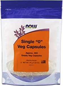 """NOW Supplements, Empty Vegetarian Capsules, Single """"0"""", Filled by Weight, Non-GMO Project Verified, 300 Veg Capsules"""