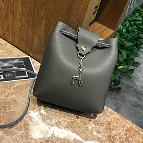 Fashion Messenger Womens Girls Crossbody Gray Bag Bags Hasp Deer Leather Bucket Bag Small Dark Shoulder Bag Purse Ladies q7w7rtxX
