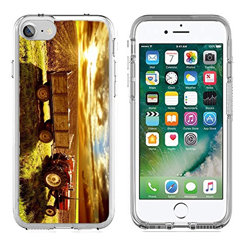 Phone 8 Clear case Soft TPU Rubber Silicone Bumper Snap Cases iPhone 7/8 IMAGE of agriculture field rural harvest farming nature farm grass tractor countryside transport sky hay (Tractor Harvest)