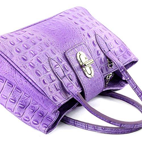 modamoda de - Made in Italy - Bolso de piel para mujer pequeño, diseño tipo piel de cocodrilo Kroko Lila