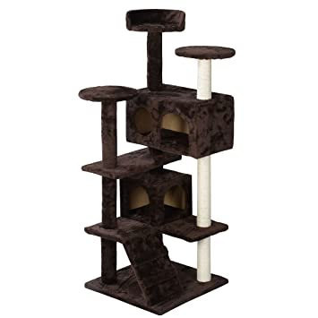 Inlifiny 51u0027u0027 Cat Tree Tower Condo Furniture Scratch Post Kitty Pet House  Play Brown