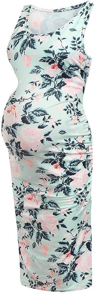 Maternity Dress for Women Sleeveless Floral Printed Summer Bodycon Tank Dress Mama Baby Shower Pregnancy Dress JoyJay