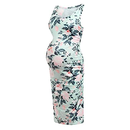 d172d264e9 Nacome Dress Formal Summer Casual Work Maternity Sleeveless Pregnant Maternity  Dress Flower XX-Large Mint Green  Amazon.in  Home   Kitchen