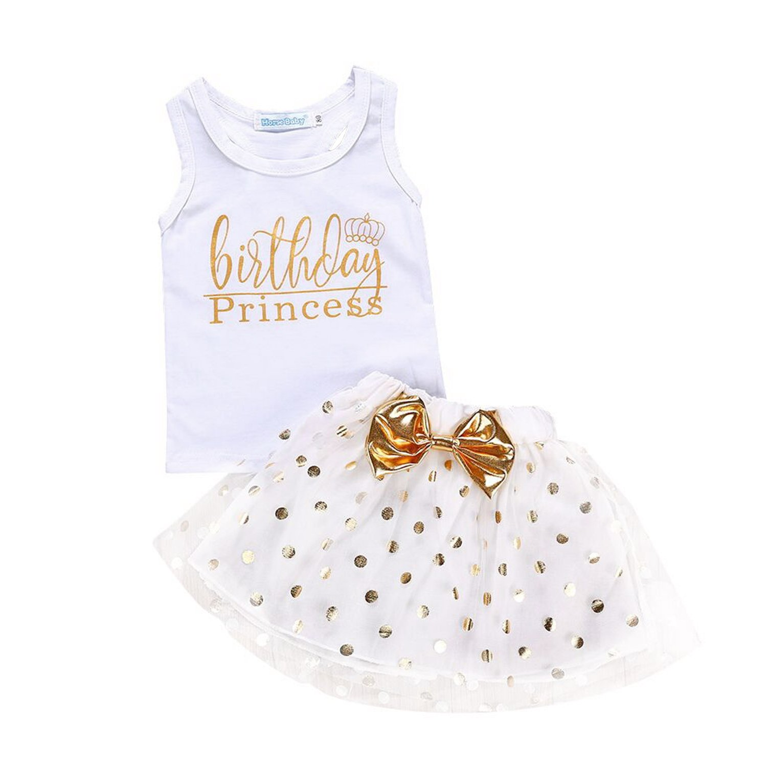 e9f06eb2f 【Feature】: Birthday princess crown print vest, gold dots tulle dress with  bowknot