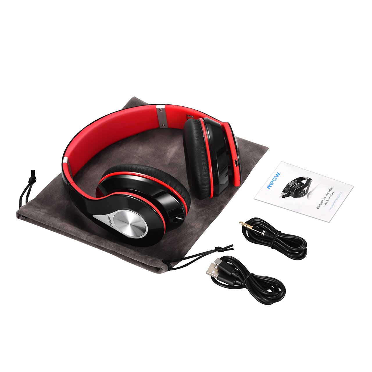 Mpow Bluetooth Headphones Over Ear, Hi-Fi Stereo Wireless Headset, Foldable, Soft Memory-Protein Earmuffs, w/ Built-in Mic and Wired Mode for PC/ Cell Phones/ TV